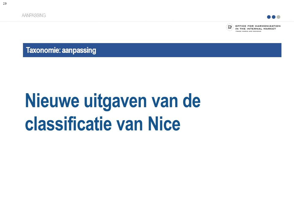 Nieuwe uitgaven van de classificatie van Nice