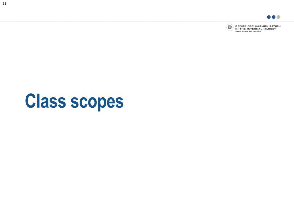 Class scopes De ontwikkeling van Taxonomie heeft geleid tot de samenstelling van zogenaamde class scopes .