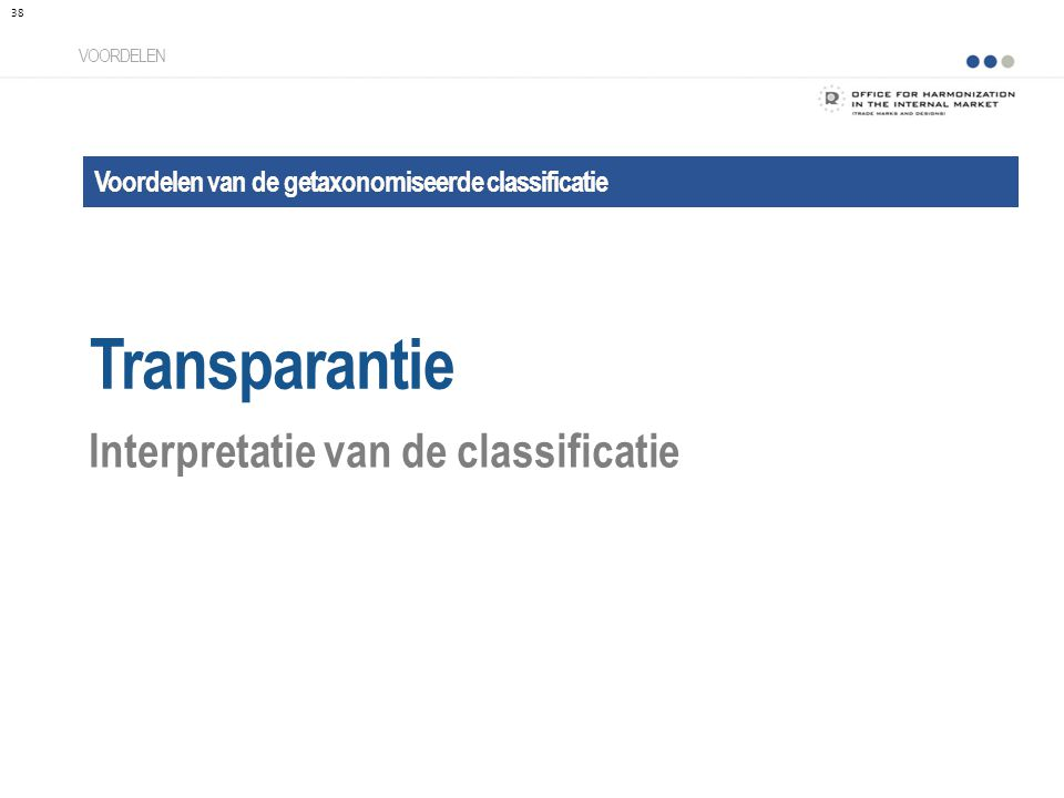 Transparantie Interpretatie van de classificatie