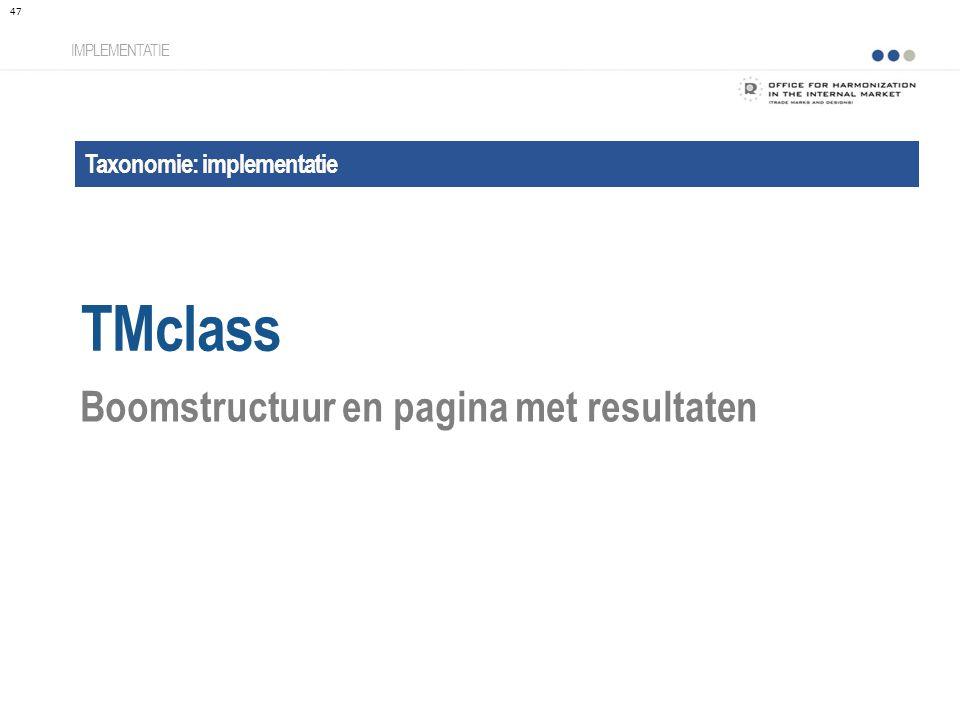 TMclass Boomstructuur en pagina met resultaten