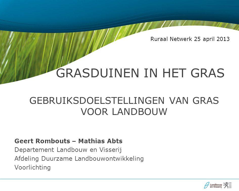 GRASDUINEN IN het GRAS Gebruiksdoelstellingen van gras voor landbouw