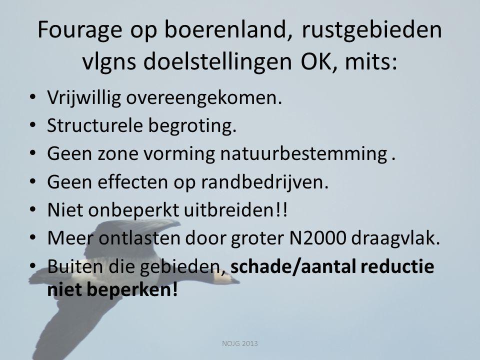 Fourage op boerenland, rustgebieden vlgns doelstellingen OK, mits: