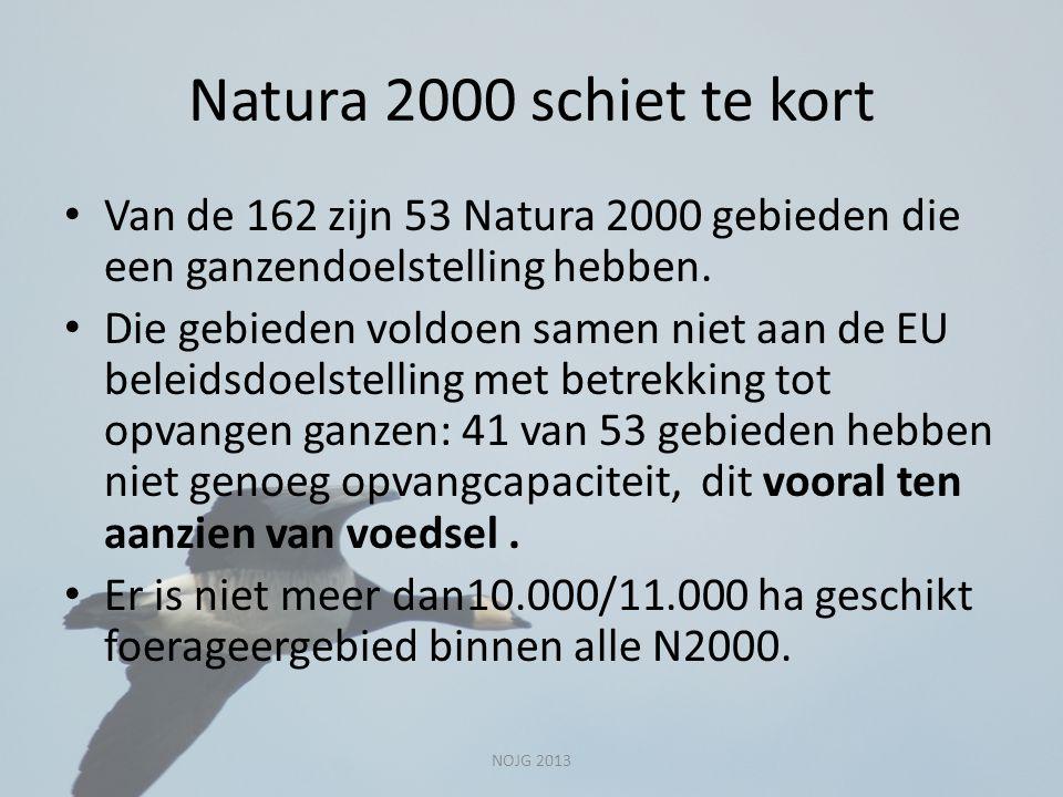 Natura 2000 schiet te kort Van de 162 zijn 53 Natura 2000 gebieden die een ganzendoelstelling hebben.