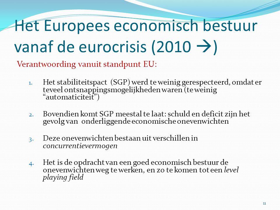 Het Europees economisch bestuur vanaf de eurocrisis (2010 )