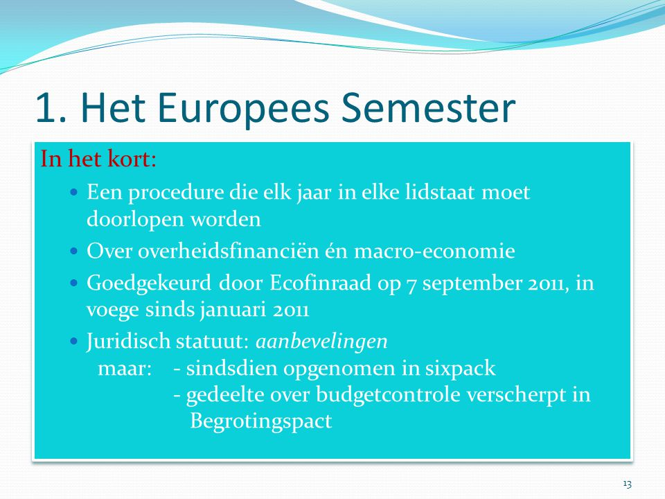 1. Het Europees Semester In het kort: