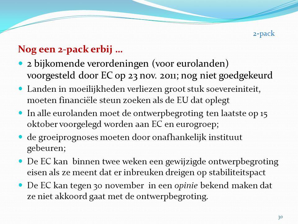 2-pack Nog een 2-pack erbij … 2 bijkomende verordeningen (voor eurolanden) voorgesteld door EC op 23 nov. 2011; nog niet goedgekeurd.