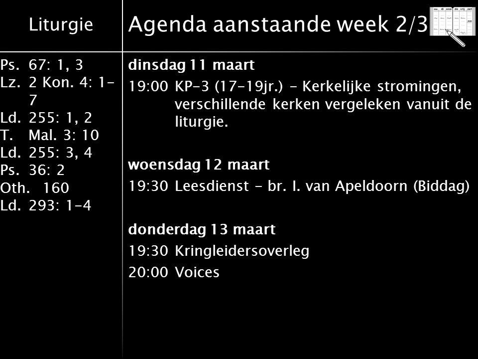 Agenda aanstaande week 2/3