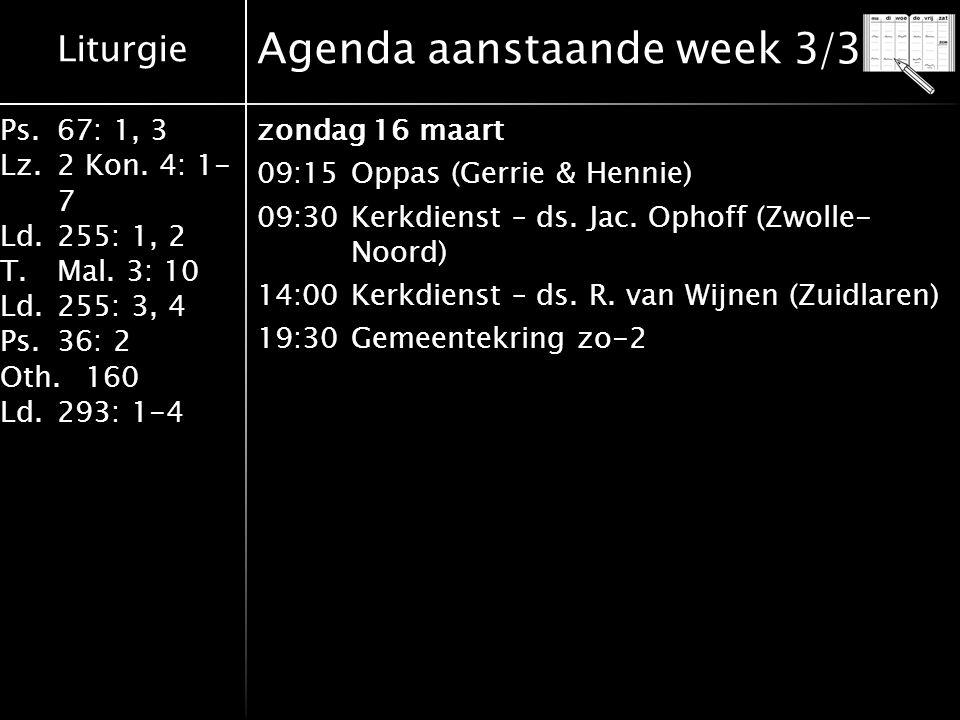 Agenda aanstaande week 3/3