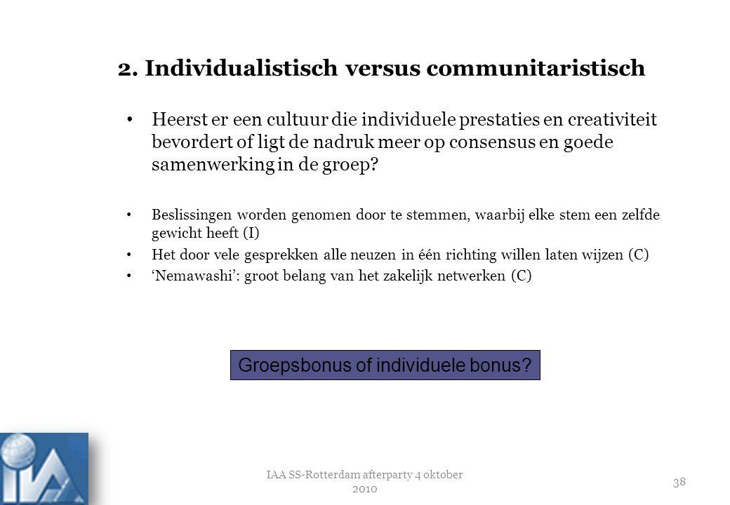 2. Individualistisch versus communitaristisch