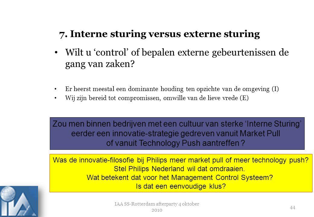 7. Interne sturing versus externe sturing