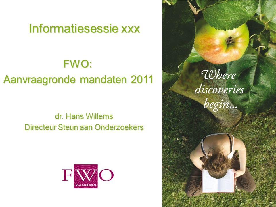 Informatiesessie xxx FWO: Aanvraagronde mandaten 2011 dr. Hans Willems