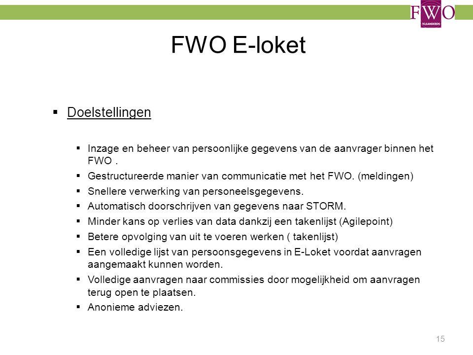 FWO E-loket Doelstellingen