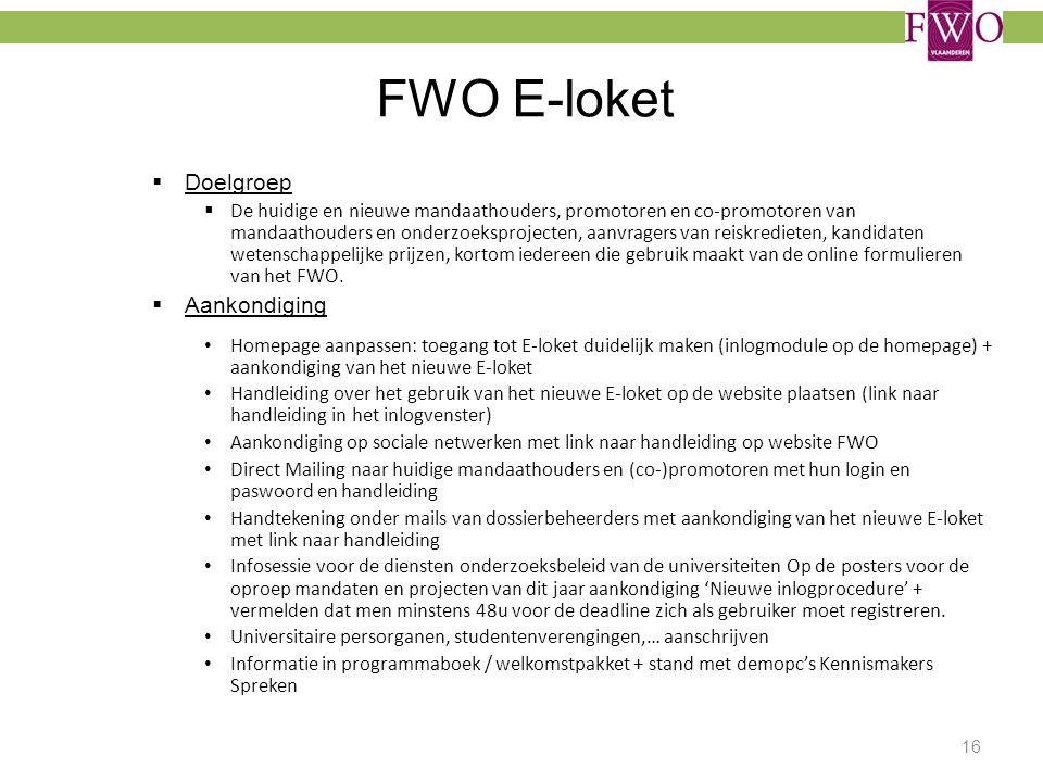 FWO E-loket Doelgroep Aankondiging