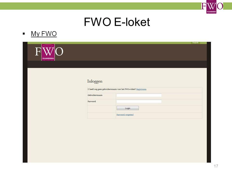 FWO E-loket My FWO