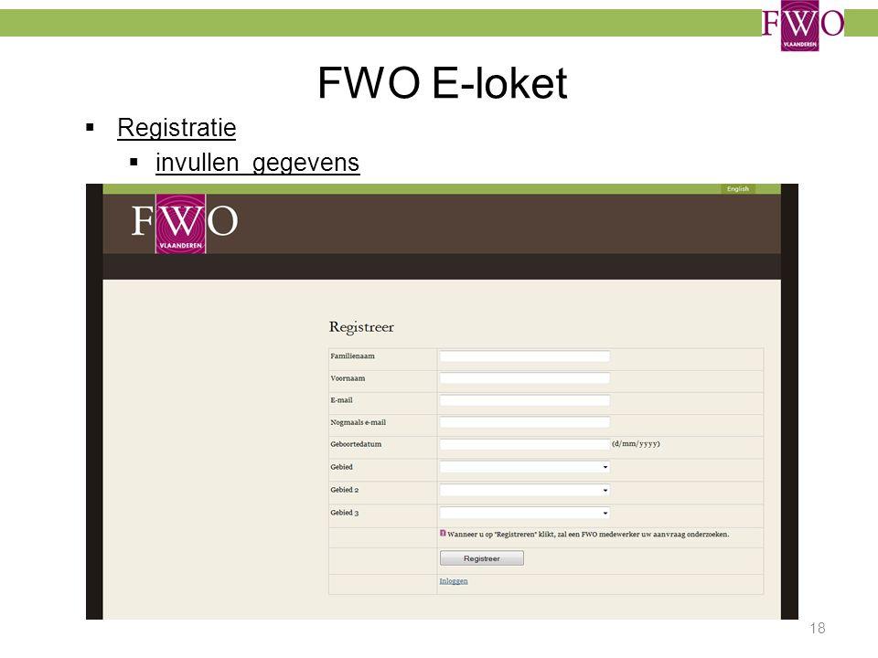 FWO E-loket Registratie invullen gegevens