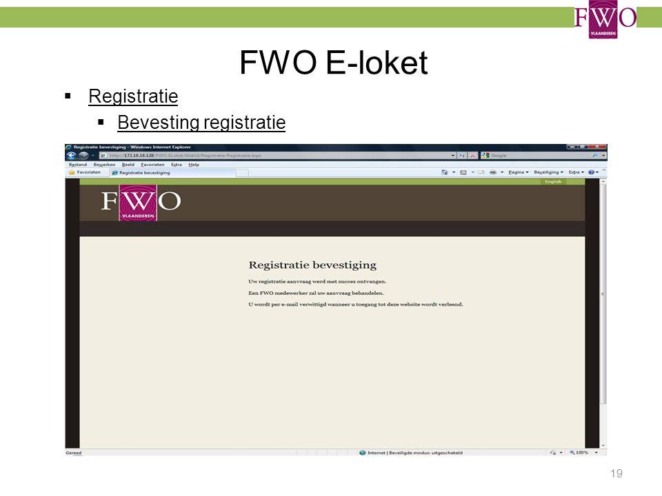 FWO E-loket Registratie Bevesting registratie