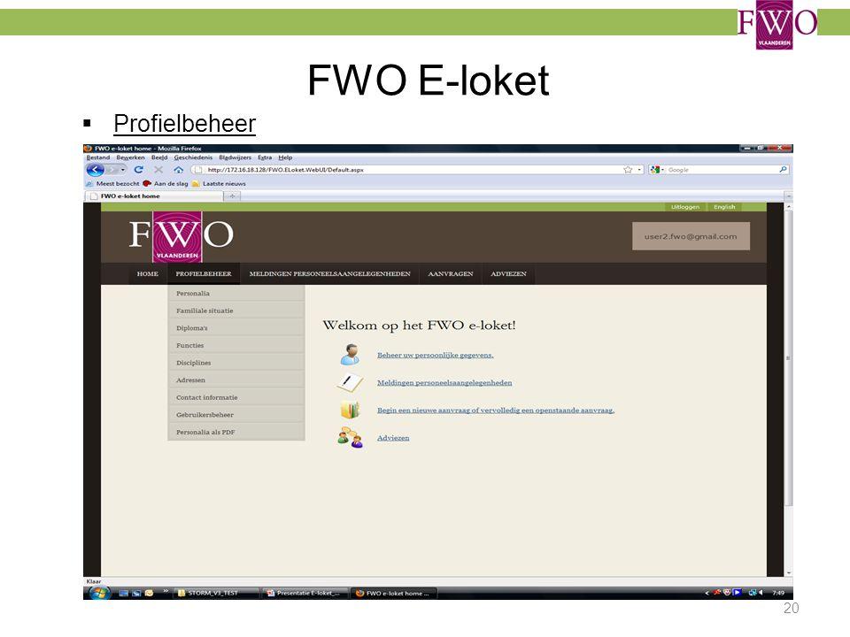 FWO E-loket Profielbeheer