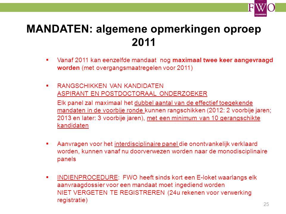 MANDATEN: algemene opmerkingen oproep 2011