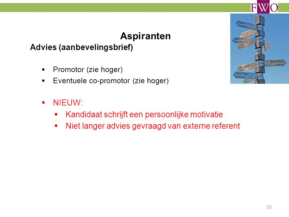Aspiranten Advies (aanbevelingsbrief) NIEUW: