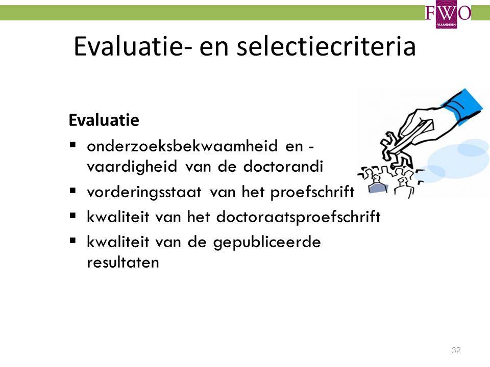 Evaluatie- en selectiecriteria