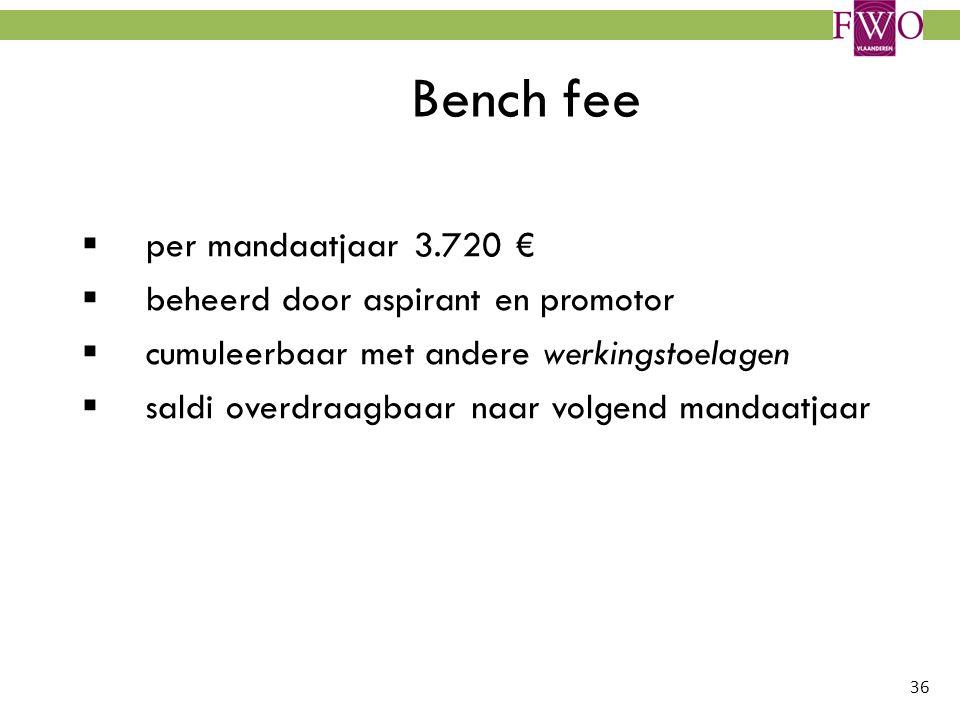 Bench fee per mandaatjaar 3.720 € beheerd door aspirant en promotor