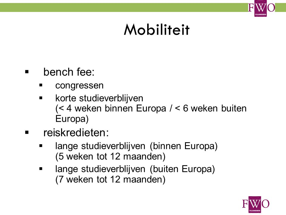 Mobiliteit bench fee: reiskredieten: congressen