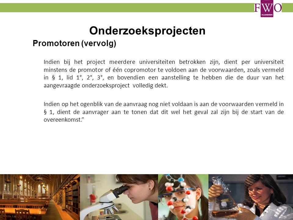 Onderzoeksprojecten Promotoren (vervolg)