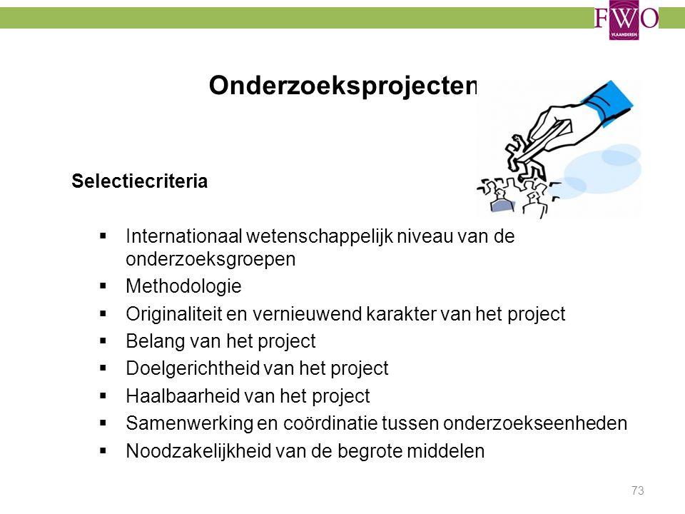 Onderzoeksprojecten Selectiecriteria