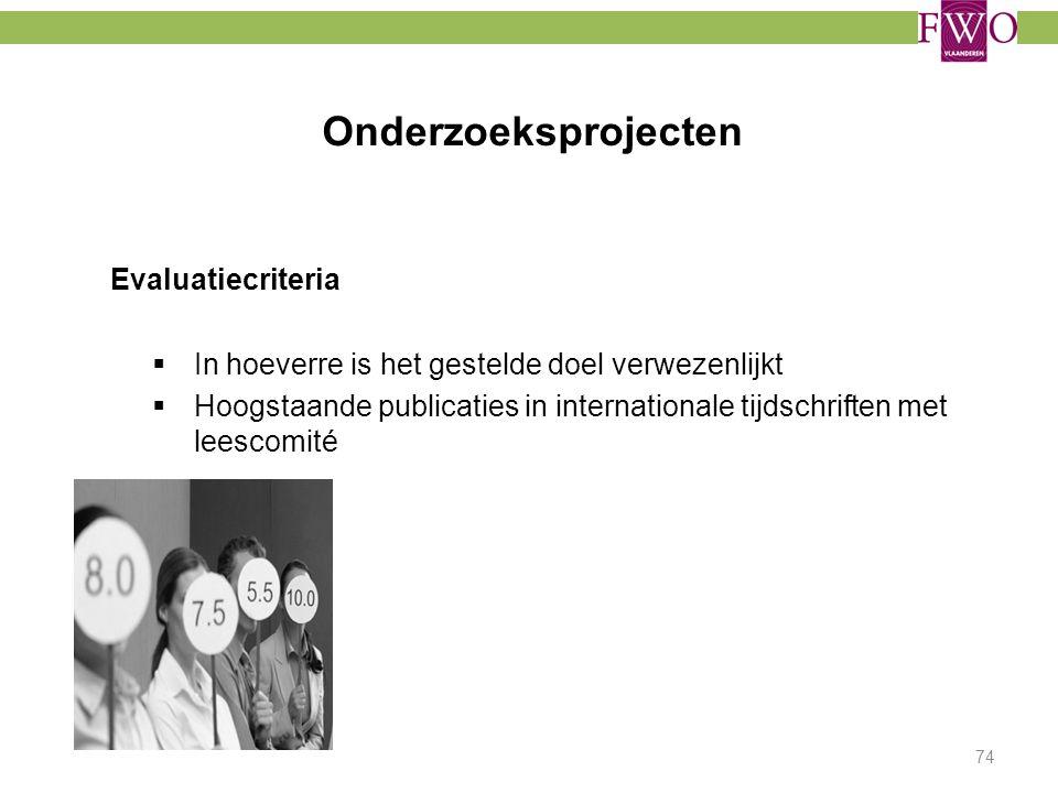 Onderzoeksprojecten Evaluatiecriteria