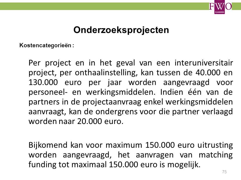 Onderzoeksprojecten Kostencategorieën :