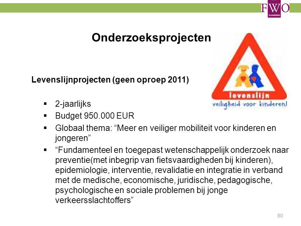 Onderzoeksprojecten Levenslijnprojecten (geen oproep 2011) 2-jaarlijks