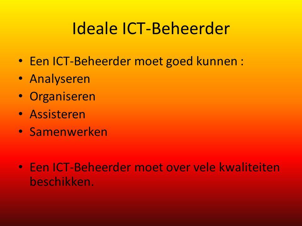 Ideale ICT-Beheerder Een ICT-Beheerder moet goed kunnen : Analyseren