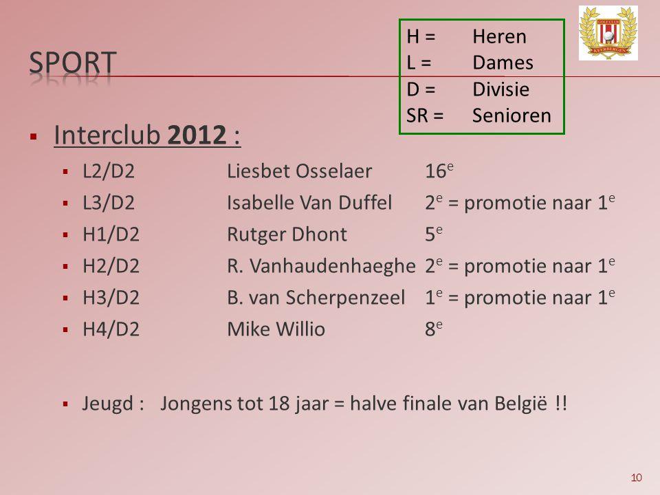 sport Interclub 2012 : H = Heren L = Dames D = Divisie SR = Senioren