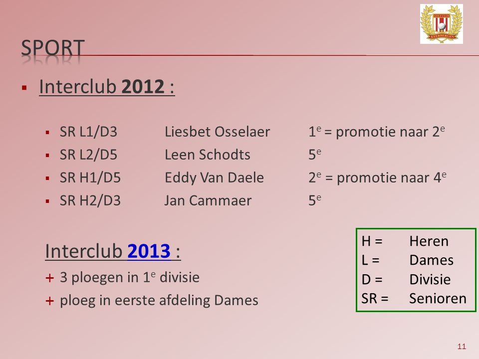 sport Interclub 2012 : Interclub 2013 :