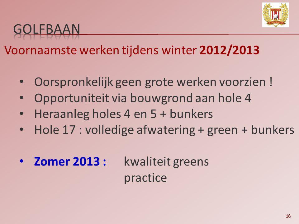 GOLFBAAN Voornaamste werken tijdens winter 2012/2013