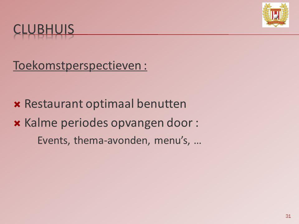 clubhuis Toekomstperspectieven : Restaurant optimaal benutten
