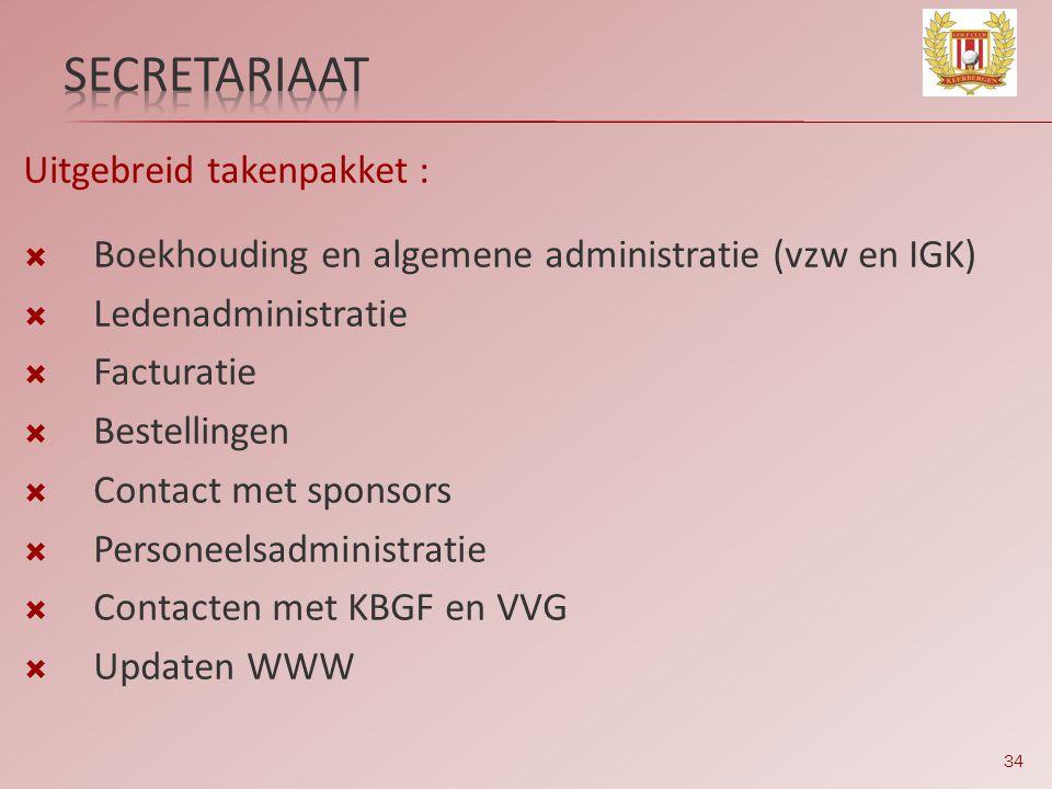 secretariaat Uitgebreid takenpakket :