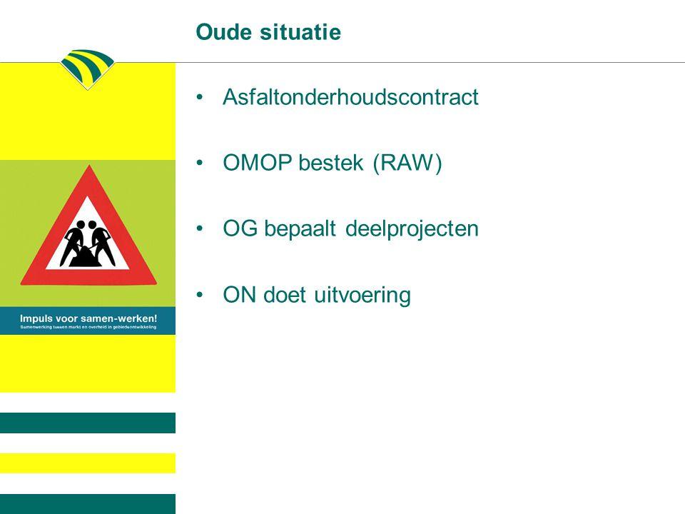 Oude situatie Asfaltonderhoudscontract. OMOP bestek (RAW) OG bepaalt deelprojecten.