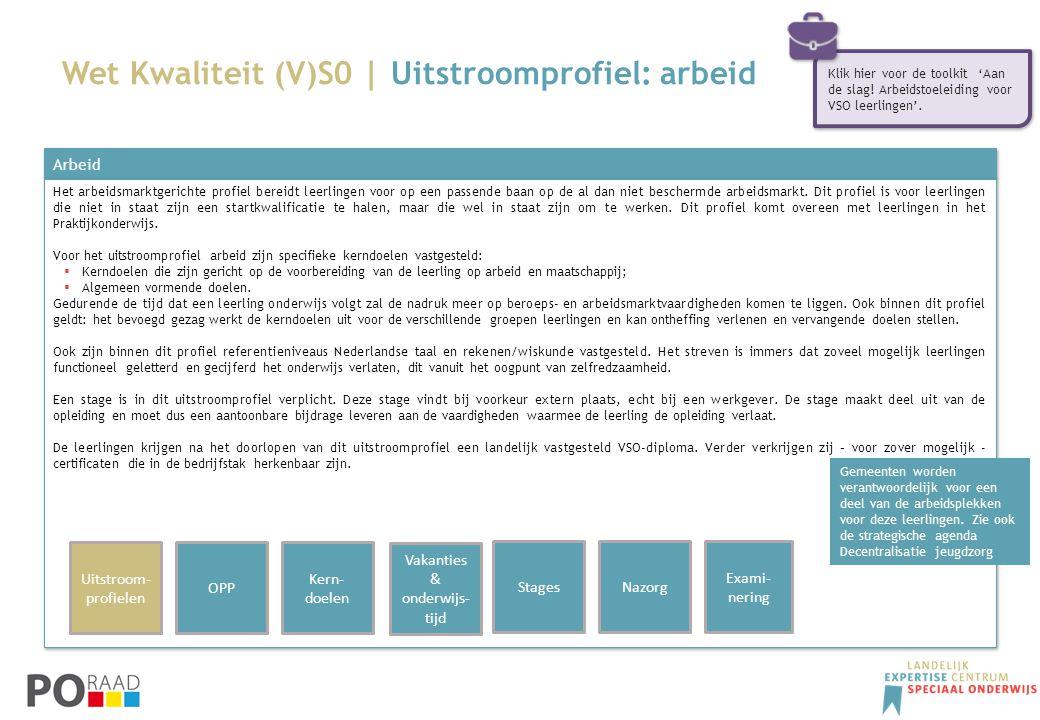 Wet Kwaliteit (V)S0 | Uitstroomprofiel: arbeid