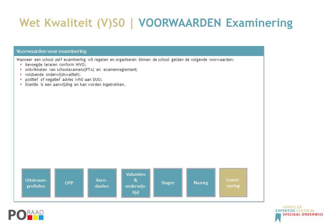 Wet Kwaliteit (V)S0 | VOORWAARDEN Examinering