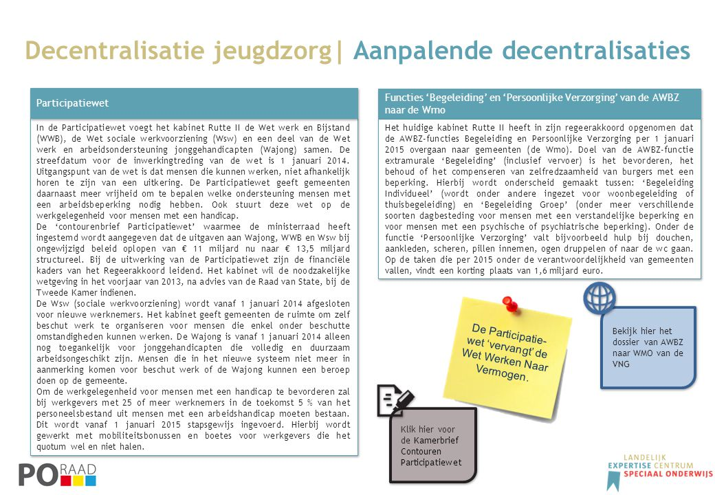 Decentralisatie jeugdzorg| Aanpalende decentralisaties