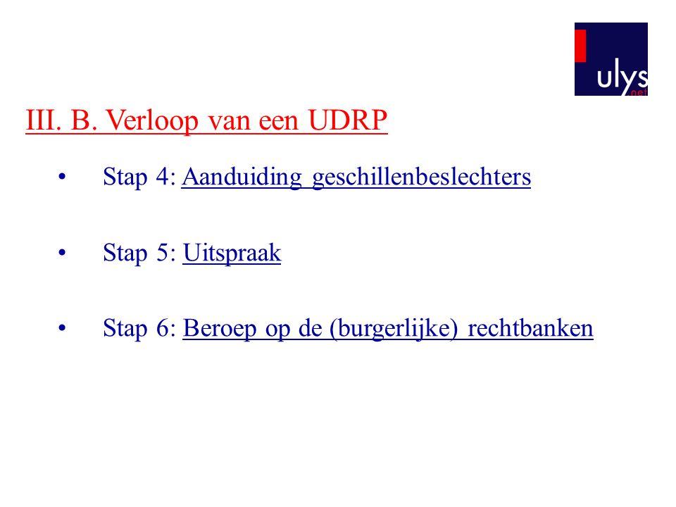 III. B. Verloop van een UDRP