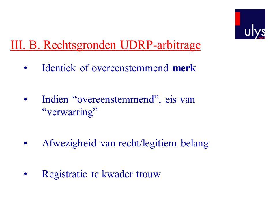III. B. Rechtsgronden UDRP-arbitrage