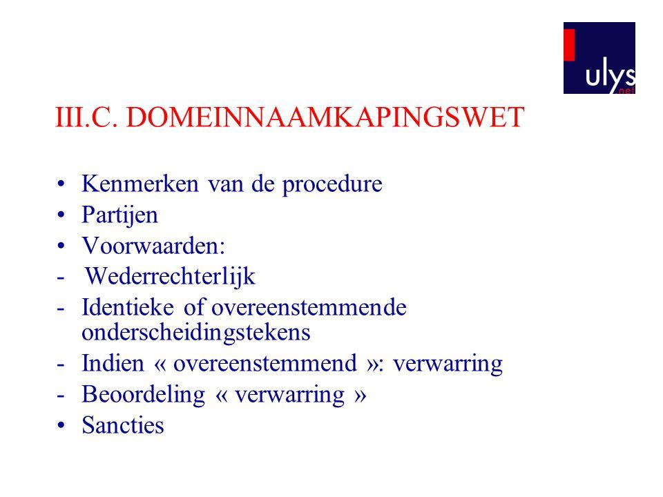 III.C. DOMEINNAAMKAPINGSWET
