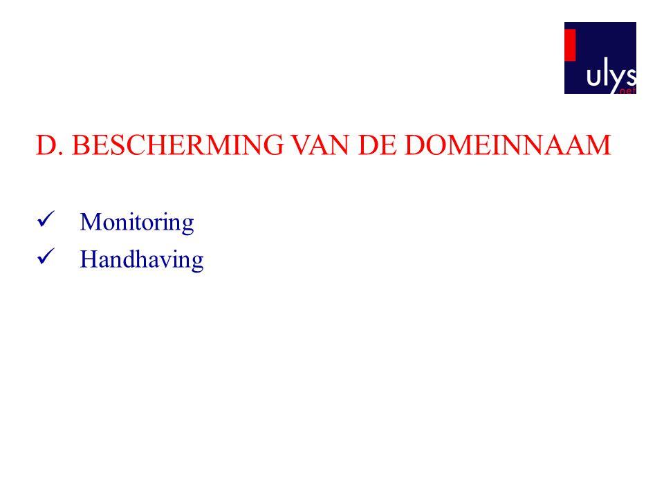 D. BESCHERMING VAN DE DOMEINNAAM