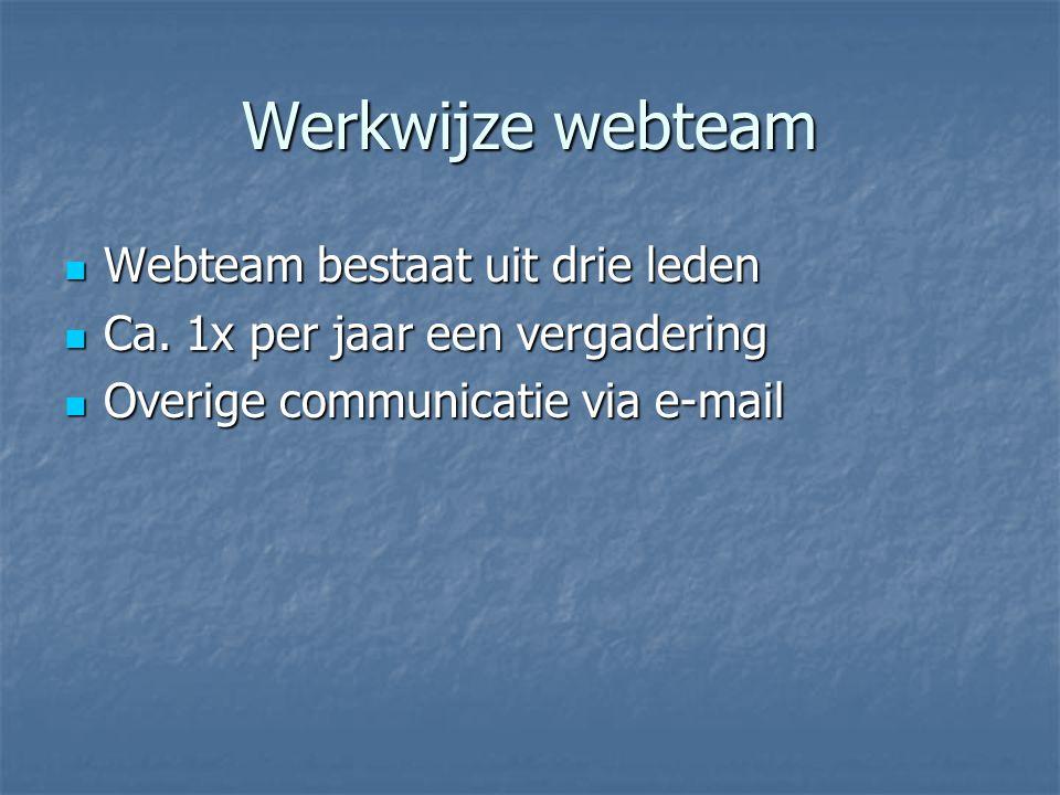 Werkwijze webteam Webteam bestaat uit drie leden