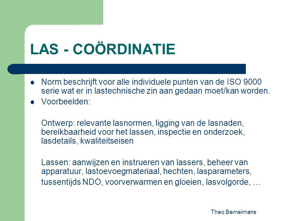 LAS - COÖRDINATIE Norm beschrijft voor alle individuele punten van de ISO 9000 serie wat er in lastechnische zin aan gedaan moet/kan worden.