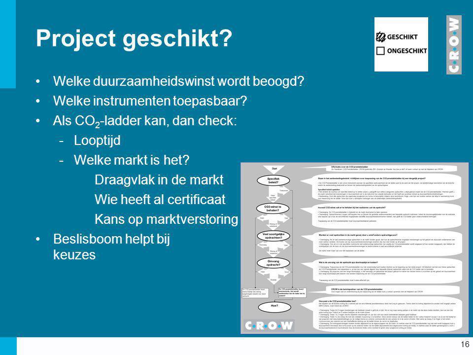 Project geschikt Welke duurzaamheidswinst wordt beoogd