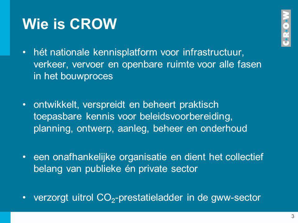Wie is CROW hét nationale kennisplatform voor infrastructuur, verkeer, vervoer en openbare ruimte voor alle fasen in het bouwproces.