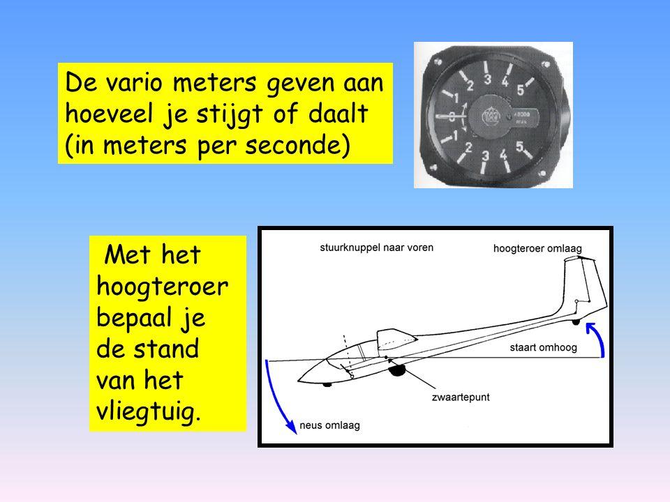 De vario meters geven aan hoeveel je stijgt of daalt (in meters per seconde)
